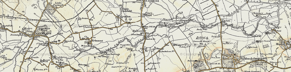Old map of Radcot in 1898-1899