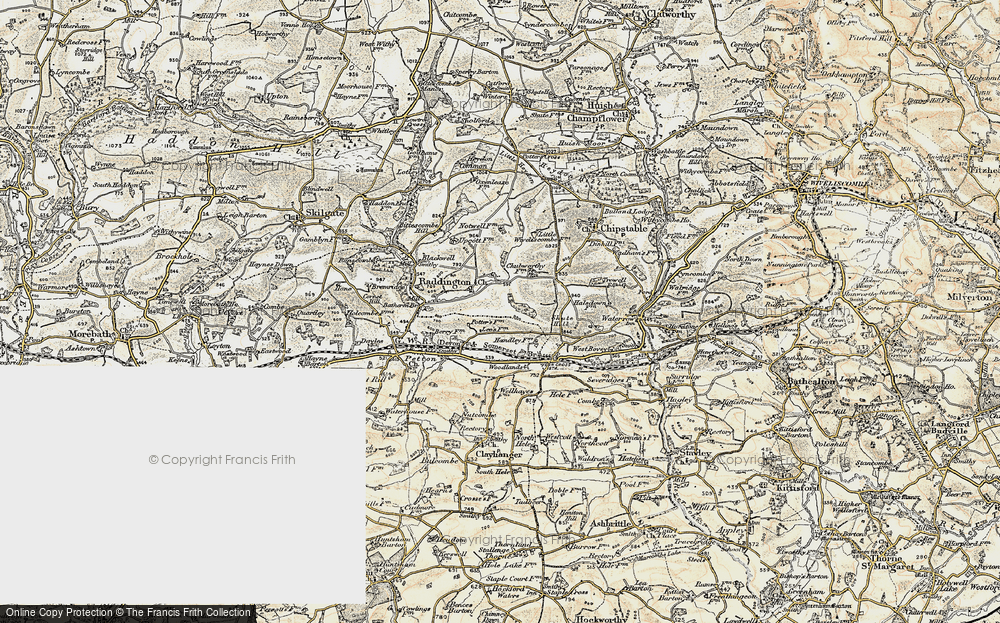 Old Map of Historic Map covering Woodlands in 1898-1900