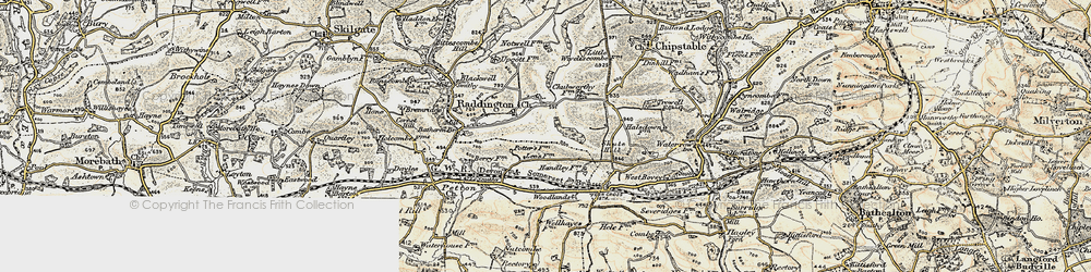 Old map of Woodlands in 1898-1900