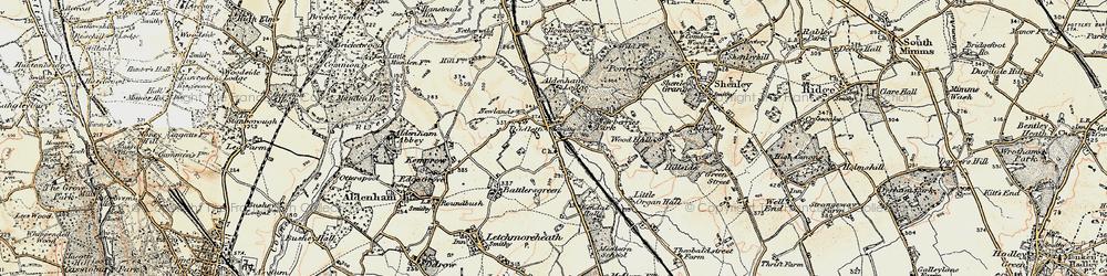 Old map of Radlett in 1897-1898