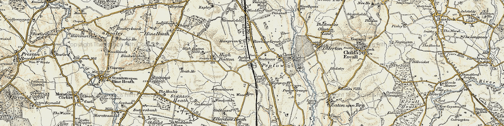 Old map of Peplow in 1902