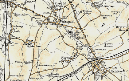 Old map of Radwell in 1898-1901