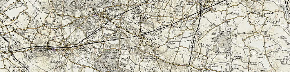 Old map of Rainhill in 1903