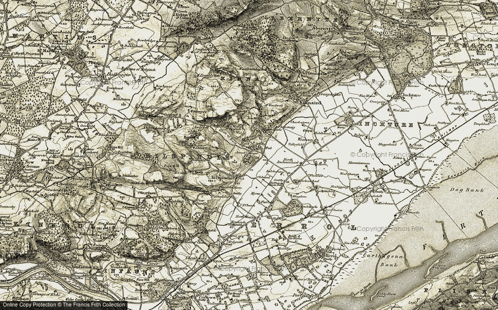 Old Map of Historic Map covering Balchalum in 1907-1908