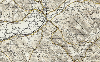 Old map of Cefn-bryn in 1901-1902