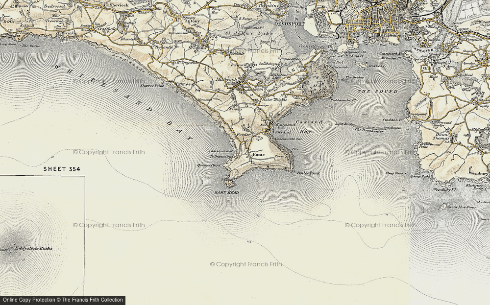 Old Map of Historic Map covering Lillery's Cove in 1899-1900