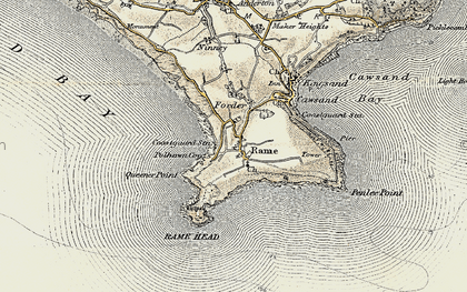 Old map of Rame in 1899-1900
