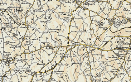 Old map of Rame in 1900