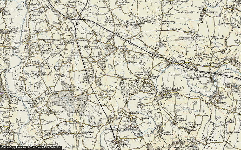 Old Map of Historic Map covering Allesborough Hill in 1899-1901
