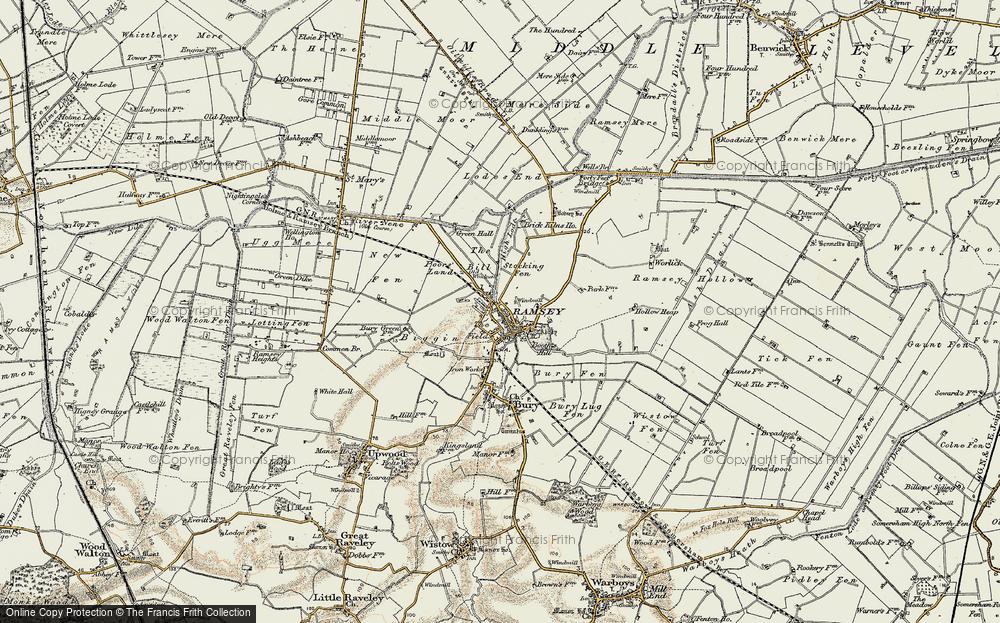 1902 Ramsey 10SE Old Map Huntingdonshire