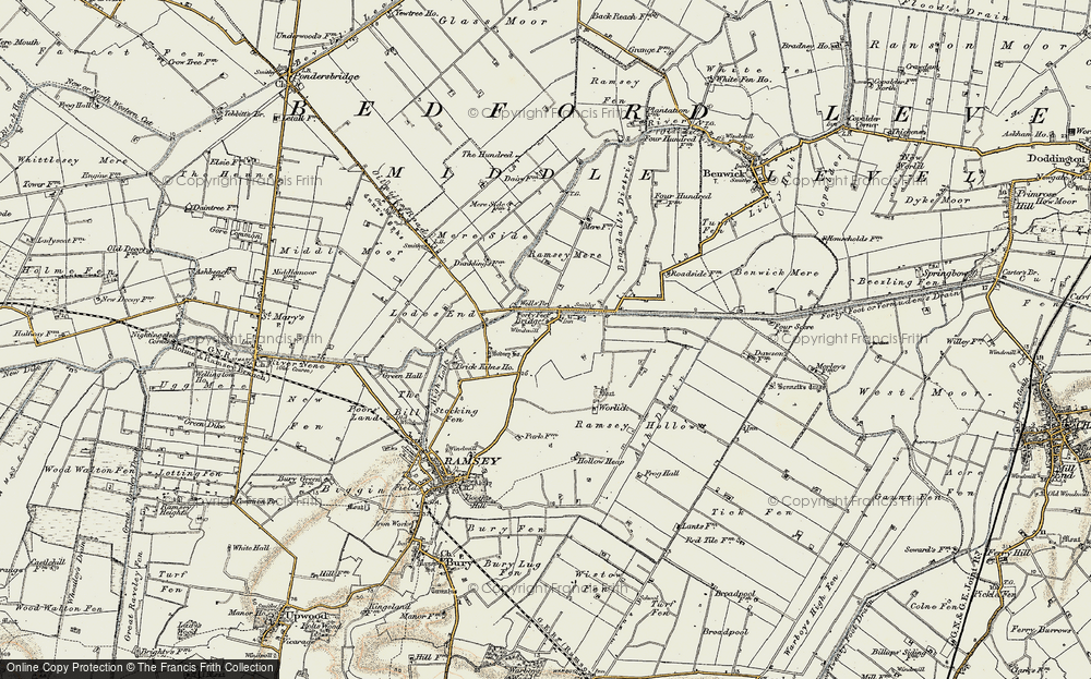 Old Map of Historic Map covering Ash Drain in 1901