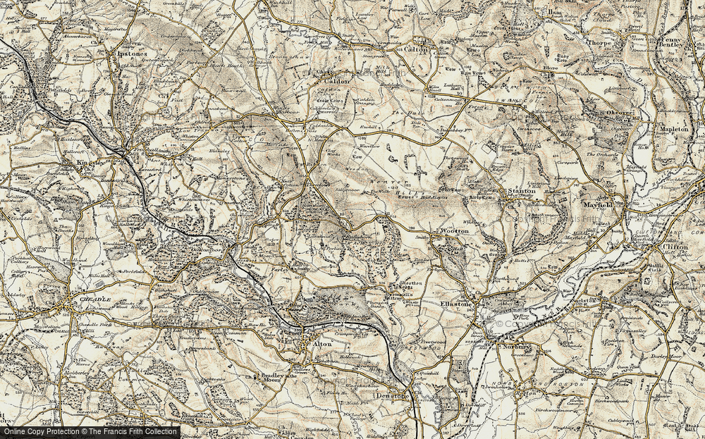 Old Map of Historic Map covering Wredon in 1902