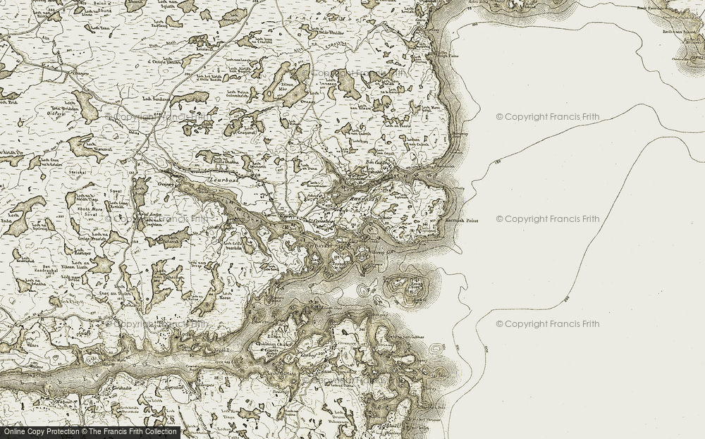 Old Map of Historic Map covering Àird Raerinis in 1909-1911