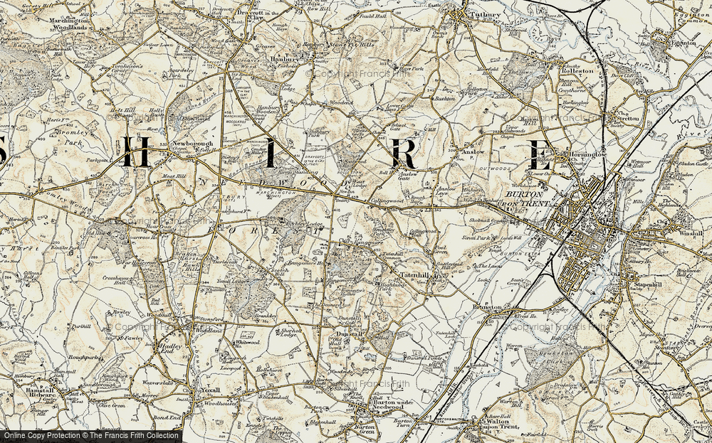Old Map of Historic Map covering Lin Brook in 1902