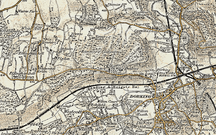 Old map of Ranmore Common in 1898-1909