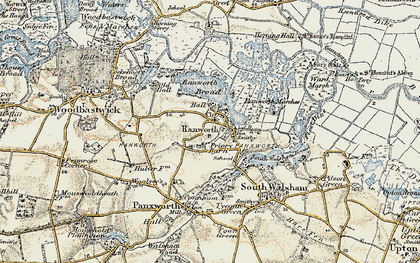 Old map of Ranworth in 1901-1902