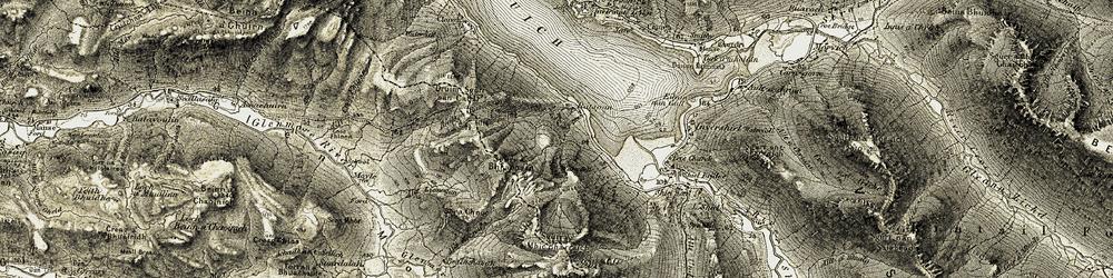 Old map of Allt Liònogan in 1908-1909