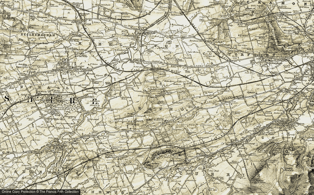 Old Map of Historic Map covering Addiston Mains in 1903-1904