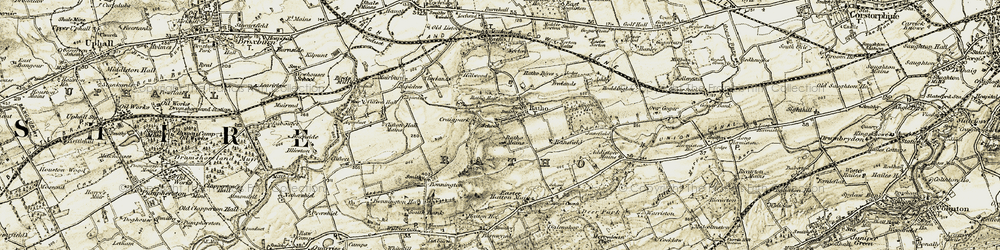 Old map of Addiston Mains in 1903-1904