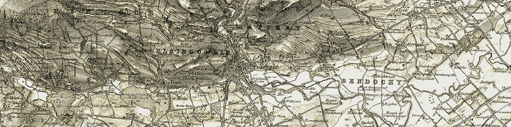Old map of Rattray in 1907-1908