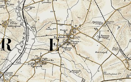 Old map of Raunds in 1901