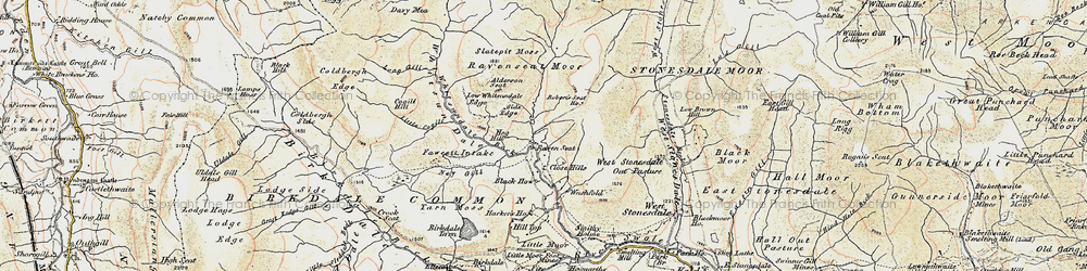 Old map of Whitsun Dale in 1903-1904