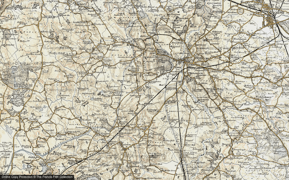 Old Map of Historic Map covering Baddiley Corner in 1902