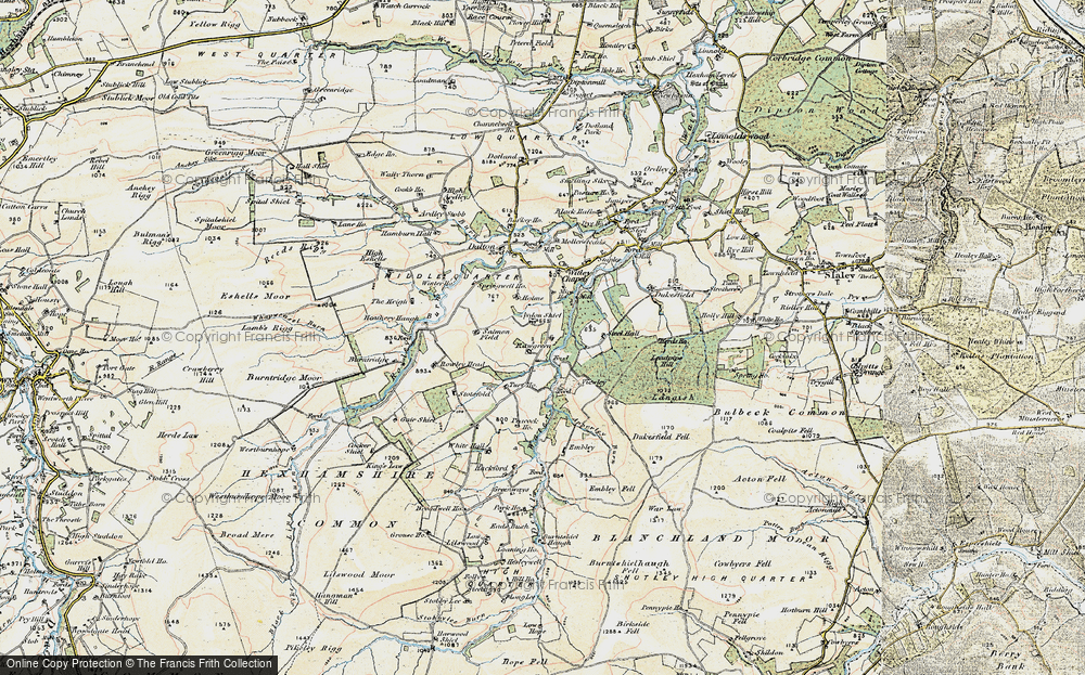 Old Map of Historic Map covering Aydon Shields in 1901-1904