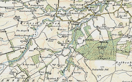 Old map of Aydon Shields in 1901-1904