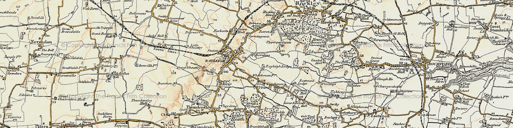 Old map of Rayleigh in 1898