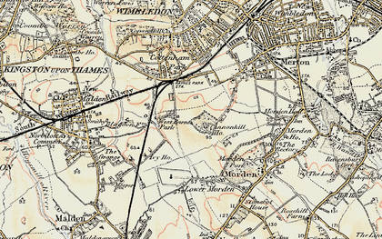 Old map of Raynes Park in 1897-1909