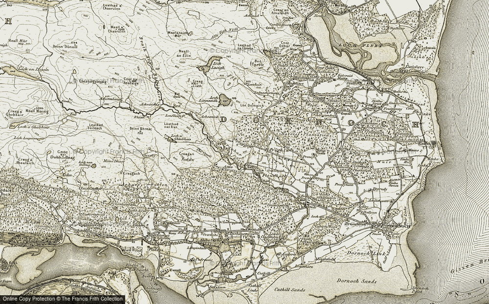 Old Map of Historic Map covering Achosnich in 1911-1912