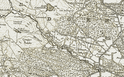 Old map of Leathad nan Uan in 1911-1912