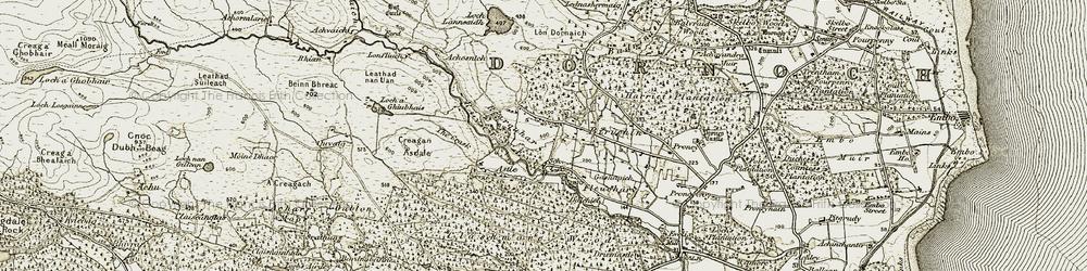 Old map of Achosnich in 1911-1912