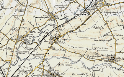 Old map of Rearsby in 1902-1903