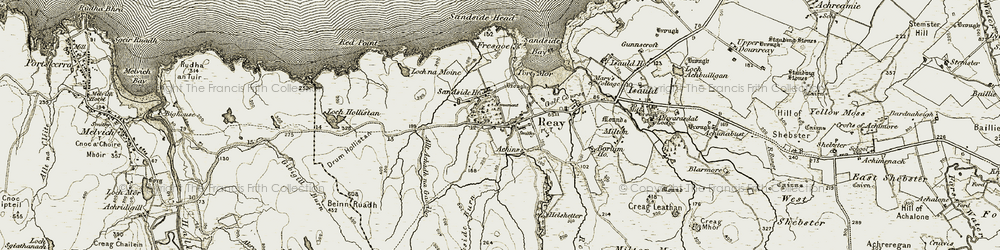 Old map of Allt Achadh na Gaodha in 1911-1912