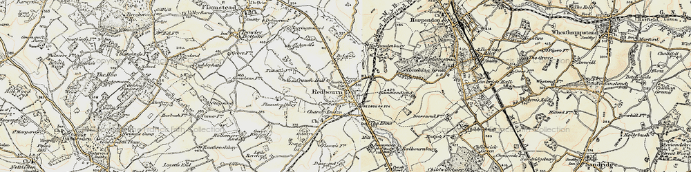 Old map of Redbourn in 1898