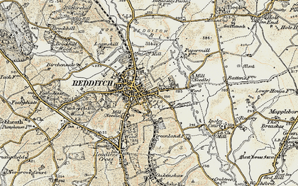 Old map of Redditch in 1901-1902