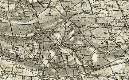 Old map of Laverockhall in 1907-1908