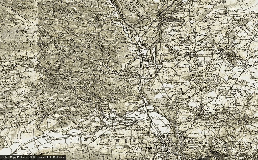 Old Map of Historic Map covering Balmblair in 1907-1908