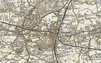 Old map of Redhill in 1898-1909