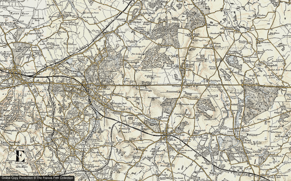 Old Map of Historic Map covering Woodgreen in 1902