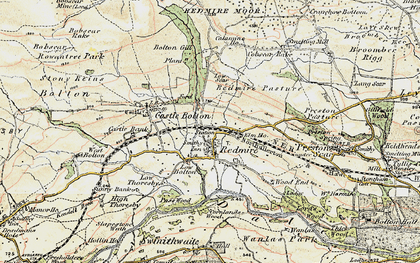 Old map of Redmire in 1903-1904