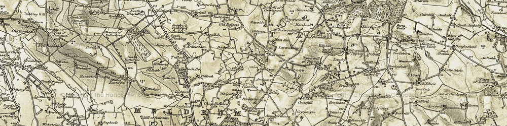 Old map of Tillycairn in 1909-1910