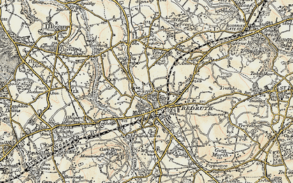 Old map of Redruth in 1900