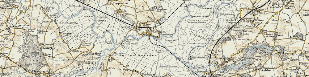 Old map of Reedham in 1901-1902