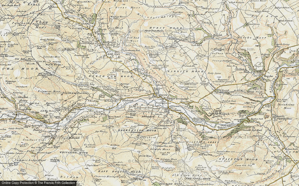 Old Map of Historic Map covering Swaledale in 1903-1904