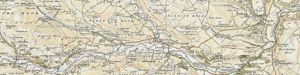 Old map of Reeth in 1903-1904