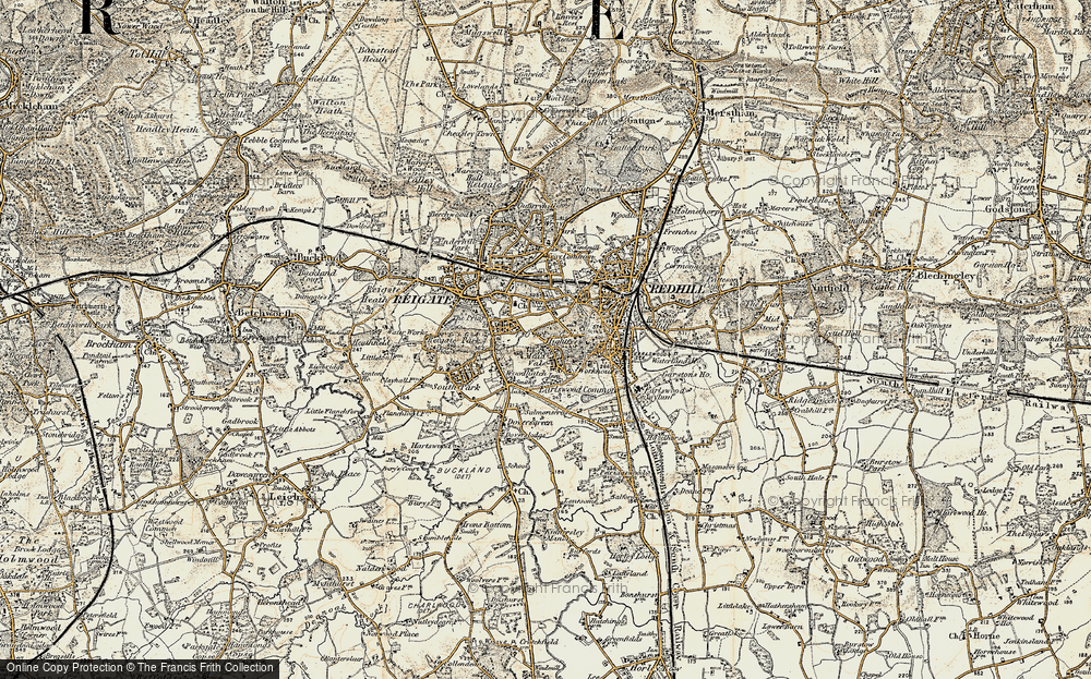 Old Map of Reigate, 1898-1909 in 1898-1909
