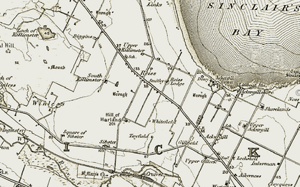 Old map of Ackergill Links in 1911-1912
